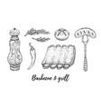 grill barbecue sketch set meat lamb rib sausage vector image
