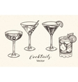 hand drawn set alcoholic cocktails vector image vector image
