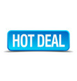 hot deal blue 3d realistic square isolated button vector image vector image