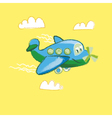 kiddy little plane on yellow background vector image vector image