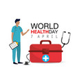 man doctor with check list to world health day vector image