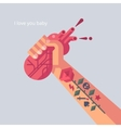 Man with tattoo is holding a his heart in hand vector image vector image