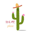 mexican green cactus with pink flouwers hug m vector image vector image