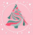 motley christmas spruce tree with round frame vector image vector image