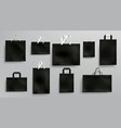 paper shopping bags mockup black packages set vector image vector image