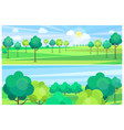 picturesque scenery landscape with river and trees vector image vector image