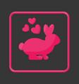 rabbit in love flat icon vector image vector image