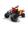 red quad bike with strips on white background vector image vector image