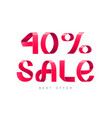 sale 40 percent off vector image vector image