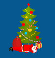 santa claus sleeping under christmas tree vector image