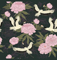 seamless pattern with cranes and peonies vector image