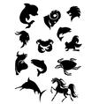 set black animals silhouettes vector image