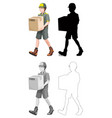 set delivery man character vector image vector image