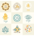 Set of Yoga and Meditation Symbols vector image