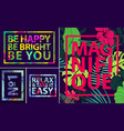 set tropical quotes posters and banners vector image