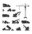 Silhouettes of Construction Machines on White vector image vector image