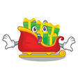 Surprised santa sleigh with christmas character