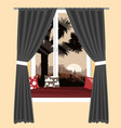 the cozy sofa on window sill with the vector image vector image