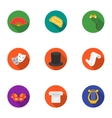 Theater set icons in flat style Big collection of vector image vector image