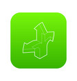 three way direction arrow icon green vector image