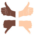 Thumbs up and down Drawn by hands icons Flat style vector image vector image