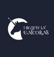 unicorn head silhouette with moonlighte fantasy vector image
