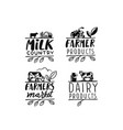 village emblem with text farmer signs for vector image vector image
