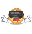 virtual reality margherita pizza isolated with the vector image vector image