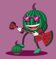 watermelon character with glasses playing guitar vector image vector image