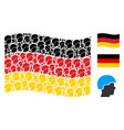 waving german flag collage of soldier helmet items vector image