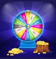 wheel of luck or fortune sack full of golden coins vector image vector image
