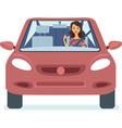 Woman driving the red car vector image vector image
