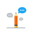 Writing skill improvement pencil with speech vector image vector image