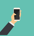 flat business hand hold a phone with blank screen vector image