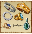 Postcard set of jewelry made stones six icons vector image