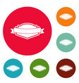 badge label icons circle set vector image vector image