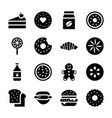 baked food icons vector image