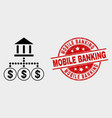 bank hierarchy icon and grunge mobile vector image vector image