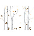 birch tree with deer and birds silhouette bac vector image vector image