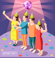 birthday party isometric background vector image vector image