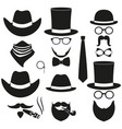 black and white 6 silhouette man avatars set vector image vector image