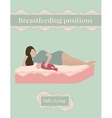 breastfeeding position side-lying mother and baby vector image