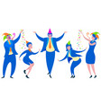 business men and women fun office party flat vector image