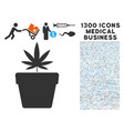 cannabis pot icon with 1300 medical business icons vector image vector image