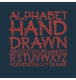 chalk sketched striped alphabet abc font vector image vector image