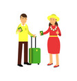 cheerful couple tourists standing at airport with vector image