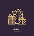 christmas gifts new year presents packaging flat vector image vector image