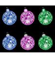 christmas shiny morror balls vector image vector image