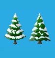 christmas tree covered with snow vector image vector image