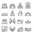 conference meeting icon set in thin line style vector image vector image